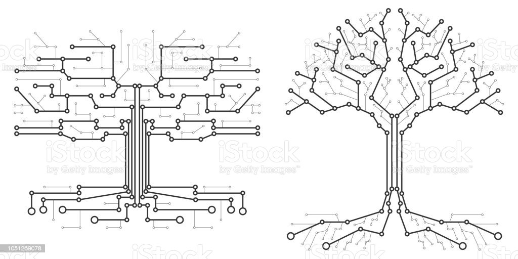 technological tree in the form of a printed circuit board black and white wood in the form of