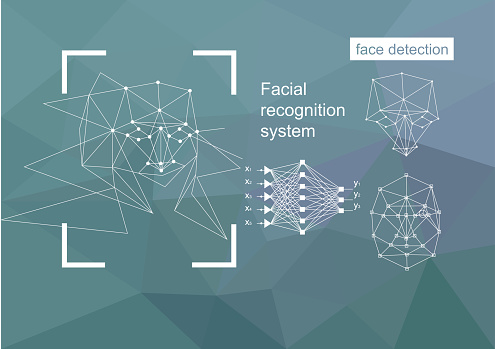 Technologies, approaches to face recognition, vector concept.