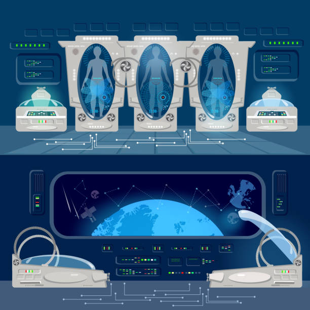 technologies of future, colonization of universe. astronauts in cryogenic cameras, deep space interior of interstellar ship. space travel to other planets banner - hibernation stock illustrations, clip art, cartoons, & icons