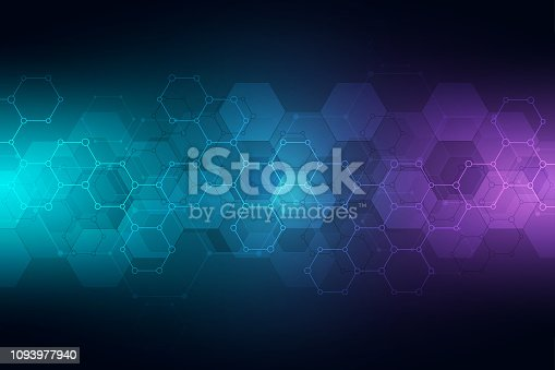 Technology abstract background. Geometric texture with molecular structures and chemical engineering. Abstract background of hexagons pattern