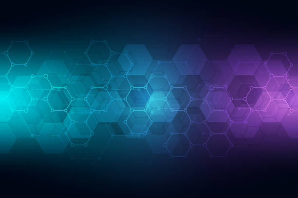 Technology abstract background. Geometric texture with molecular structures and chemical engineering. Abstract background of hexagons pattern. Technology abstract background. Geometric texture with molecular structures and chemical engineering. Abstract background of hexagons pattern biology stock illustrations