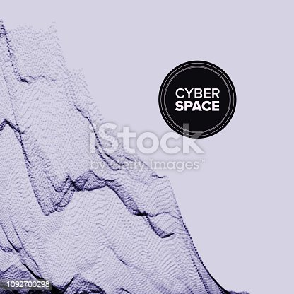 istock Technology Abstract Background Vector. Chaotic Curve. Motion Stream. 3D Grid. Cover. Illustration 1092700298
