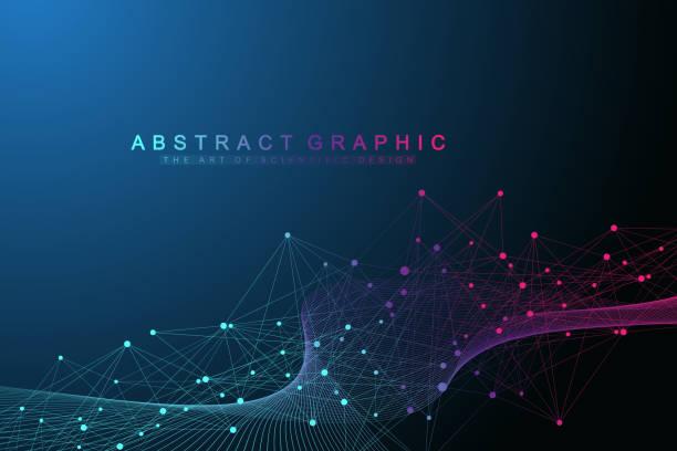 Technologie abstrakten Hintergrund mit Verbindungslinie und Punkten. Big Data-Visualisierung. Perspektive-Hintergrund-Visualisierung. Analytische Netzwerke. Vektor-illustration – Vektorgrafik