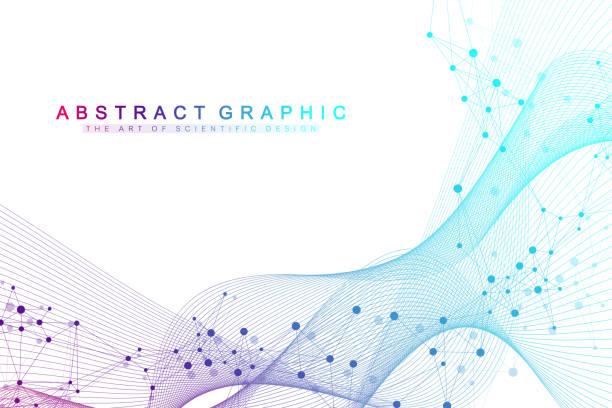 Technologie abstrakter Hintergrund mit angeschlossener Linie und Punkten. Big-Data-Visualisierung. Künstliche Intelligenz und maschinelles Lernkonzept Hintergrund. Analytische Netzwerke. Vektorabbildung – Vektorgrafik
