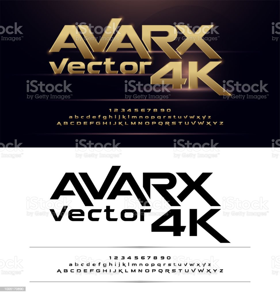 Technology Alphabet Gold Metallic And Effect Designs For