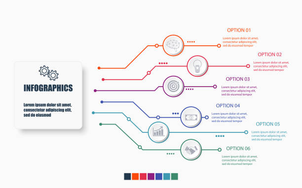 Technology and business infographic template with 6 options , process or steps. Modern layout graphic elements design. Vector illustration. Technology and business infographic template with 6 options , process or steps. Modern layout graphic elements design. Vector illustration. temporal lobe stock illustrations