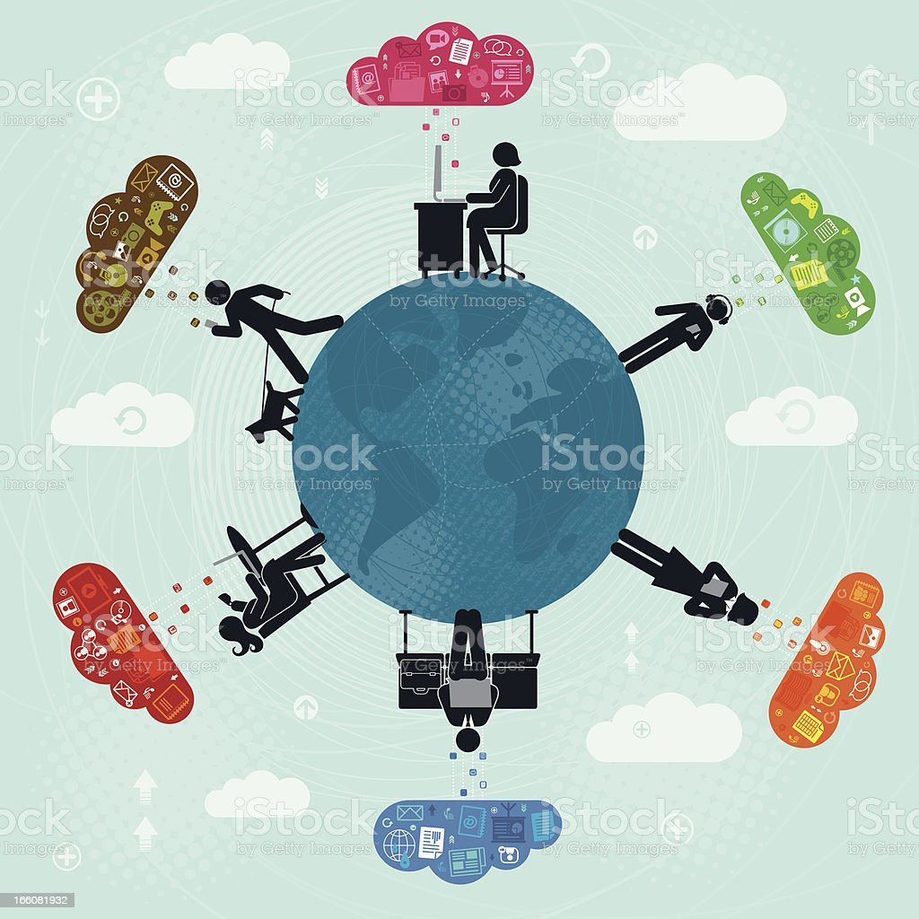 Technology and communication around the globe royalty-free stock vector art