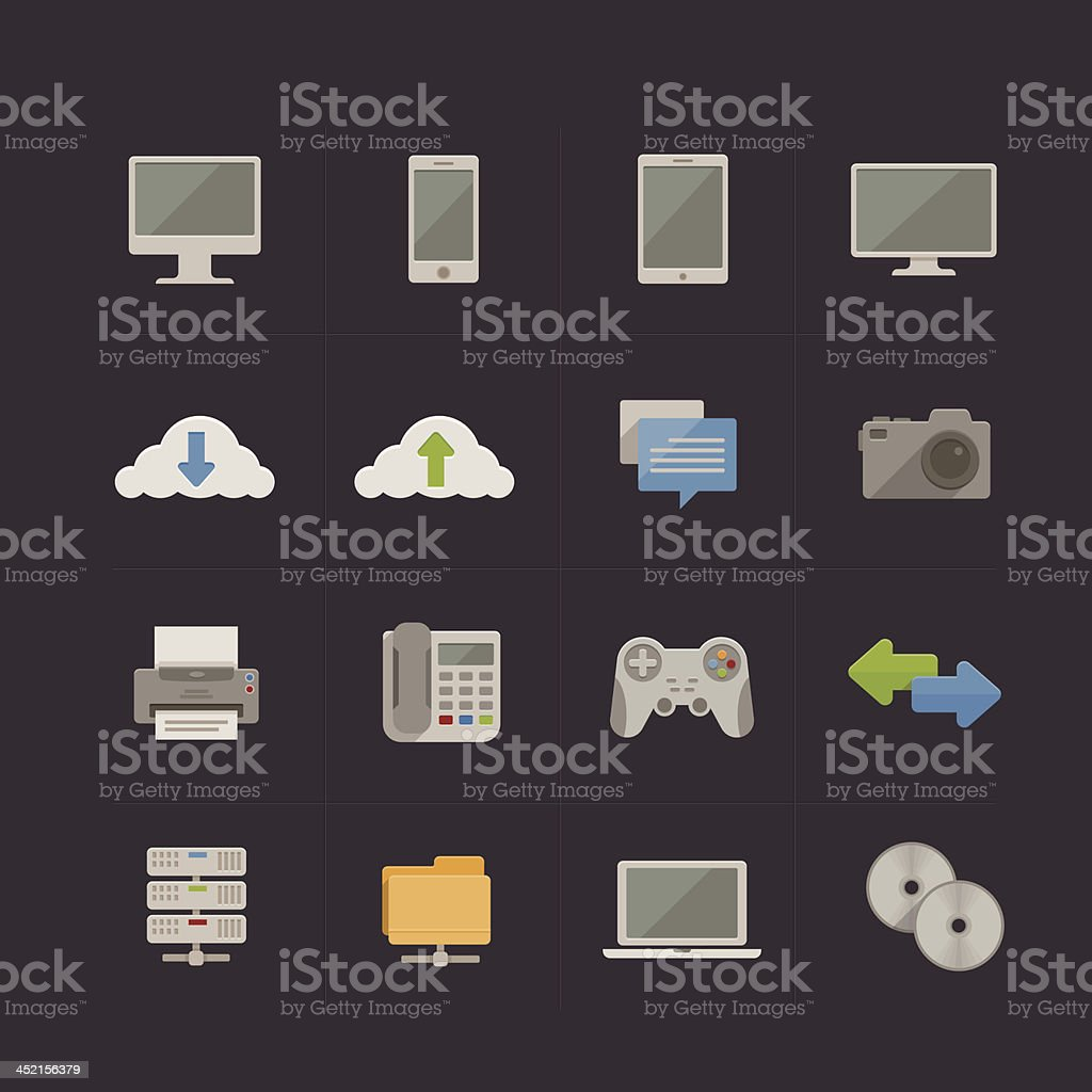 Technology and Communication Metro Retro icon set royalty-free stock vector art