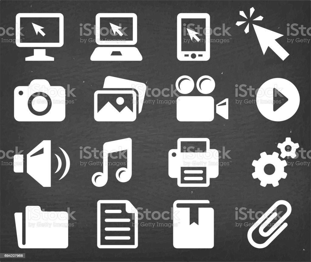 Technology and Communication Vector Icons Set on Black Chalkboard