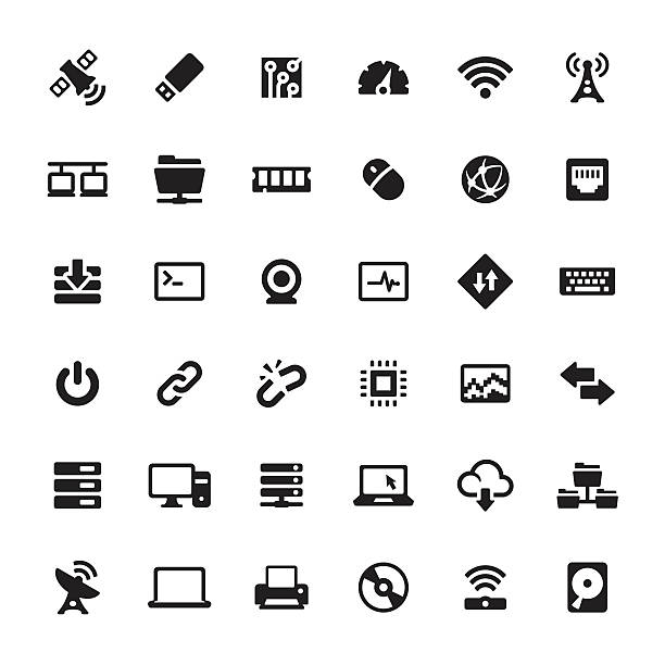 Technology and Computers vector symbols and icons Technology and Computers related symbols and icons. hyperlink stock illustrations