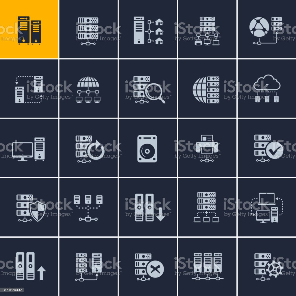 Technology and computing icons vector art illustration