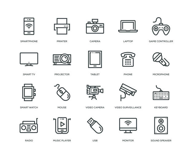 Technology and Devices Icons - Line Series Technology and Devices Icons - Line Series television set stock illustrations
