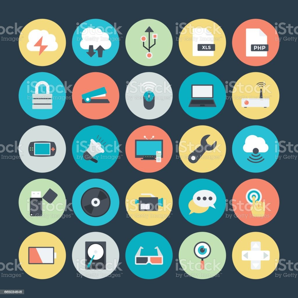 Technology and Hardware Colored Vector Icons 4 vector art illustration
