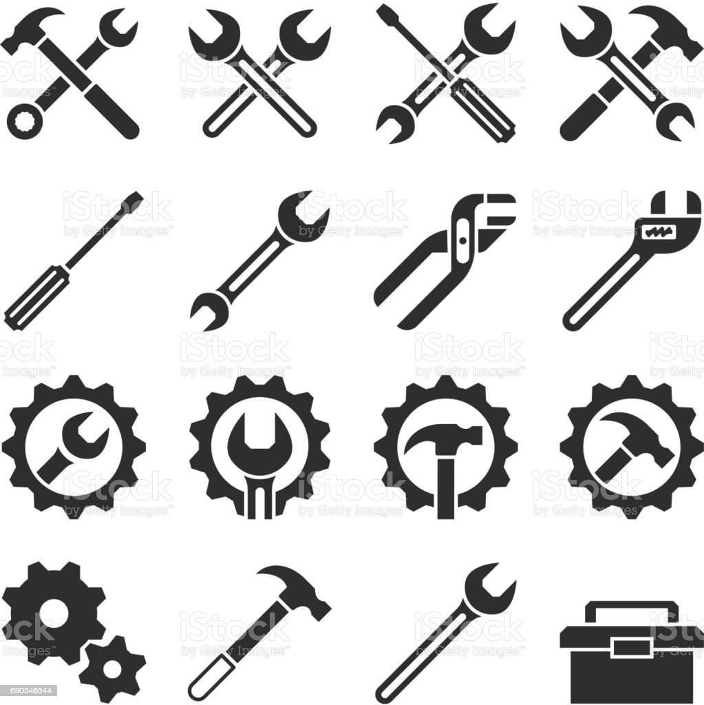 Technology and maintenance service tools vector icons vector art illustration