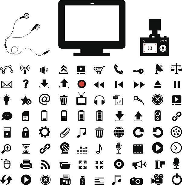bildbanksillustrationer, clip art samt tecknat material och ikoner med technology and  media icon set - chain studio