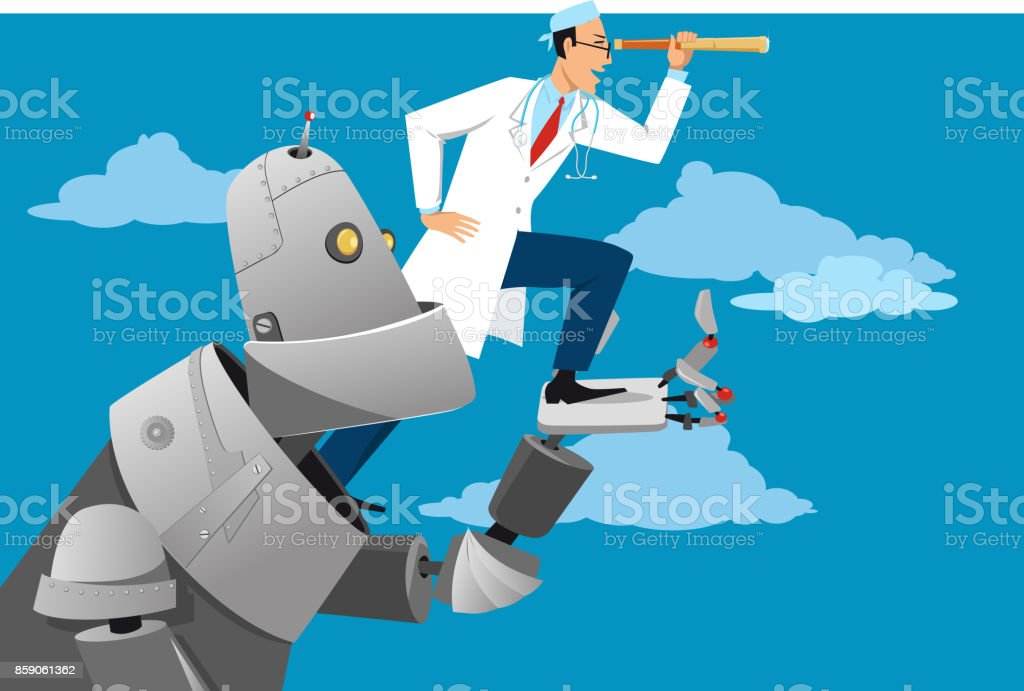 Technology and medicine vector art illustration