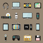 Set of technology and multimedia gadgets and devices icons, flat style design. Vector illustration eps10