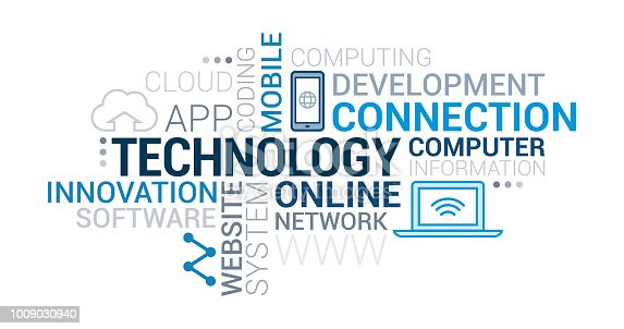 IT technology, development and networks tag cloud