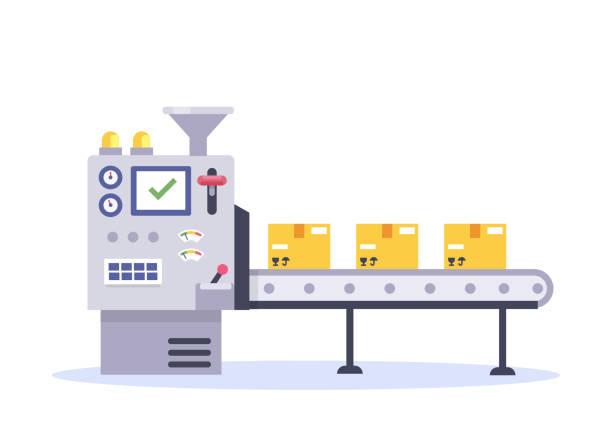stockillustraties, clipart, cartoons en iconen met technologie en verpakking concept in vlakke stijl. industriële machine vectorillustratie. - lopende band