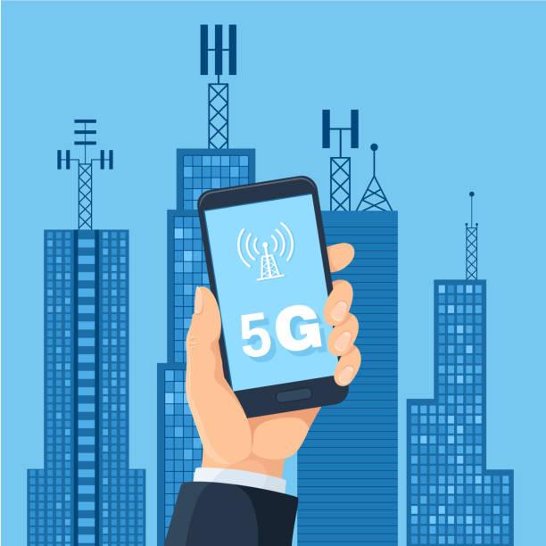 5G technology and smart city vector art illustration