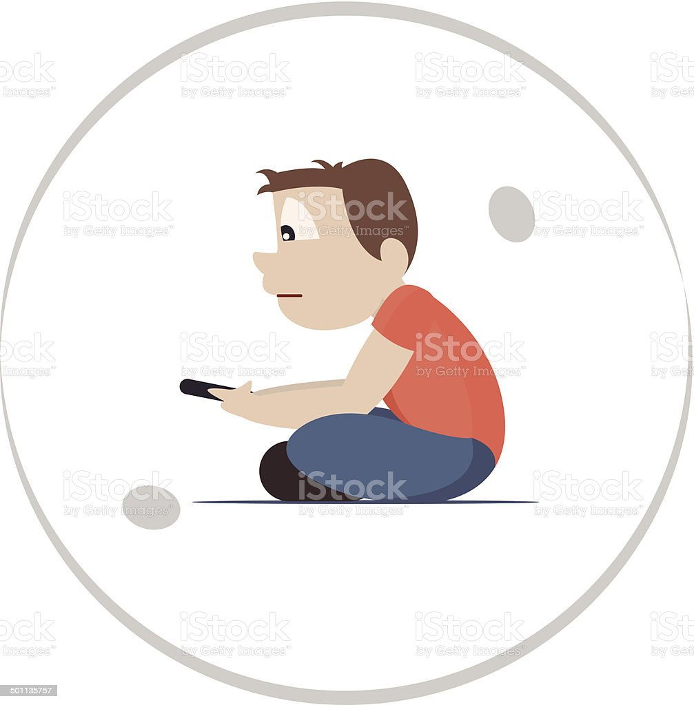 Technology and social isolation vector art illustration