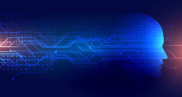 technologie künstliche intelligenz hintergrund mit gesicht - smart stock-grafiken, -clipart, -cartoons und -symbole