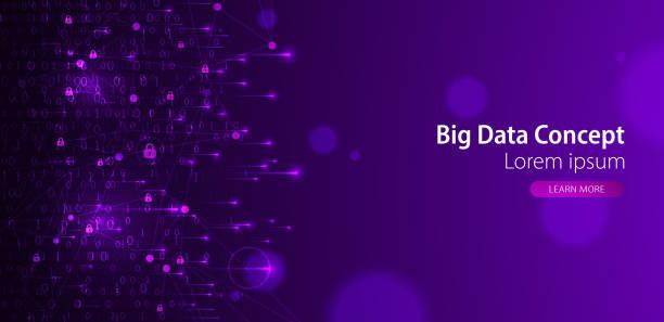 Technologie-Hintergrund. Binärer Computercode. Big Data Konzept. Vector Illustration. – Vektorgrafik