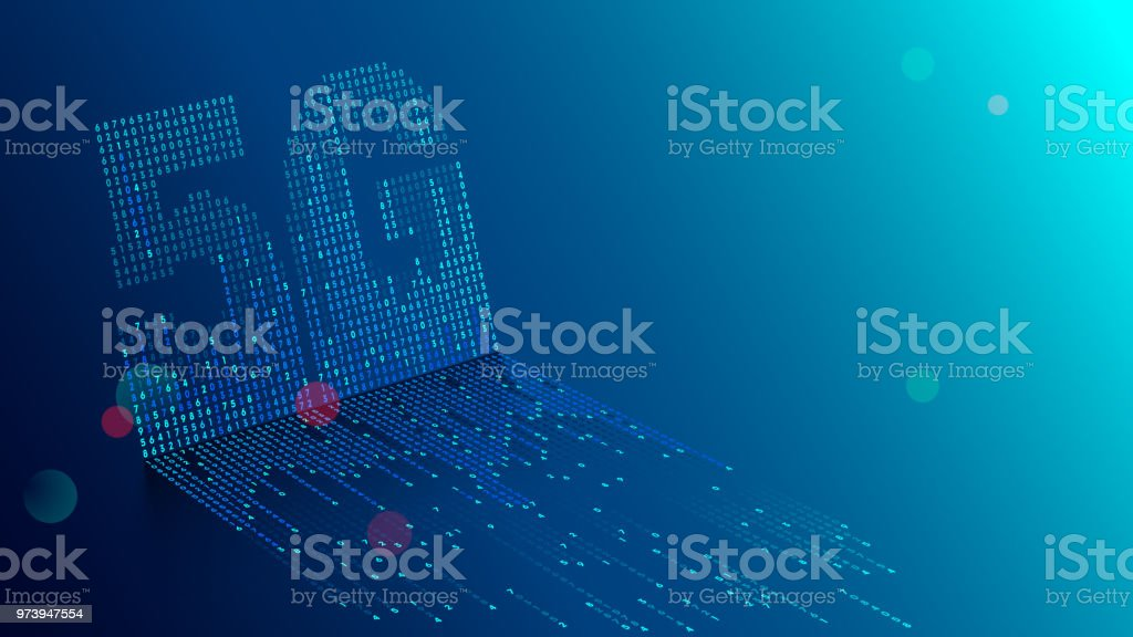 5G technology background. Digital data as digits connected each other and form symbol 5G on blue background. New generation mobile networks and internet. vector art illustration