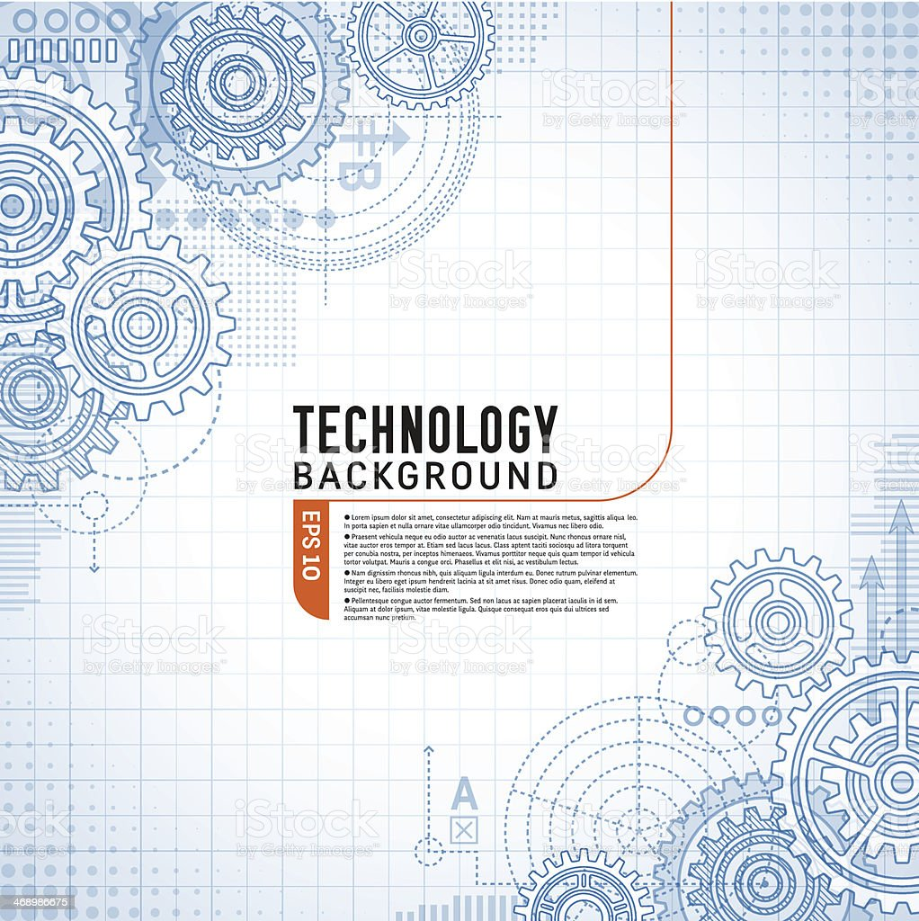 Technology Background on gears vector art illustration