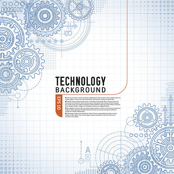 technology background on gears - machine stock illustrations, clip art, cartoons, & icons