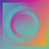 Technology background with concentric circles and half tone pattern