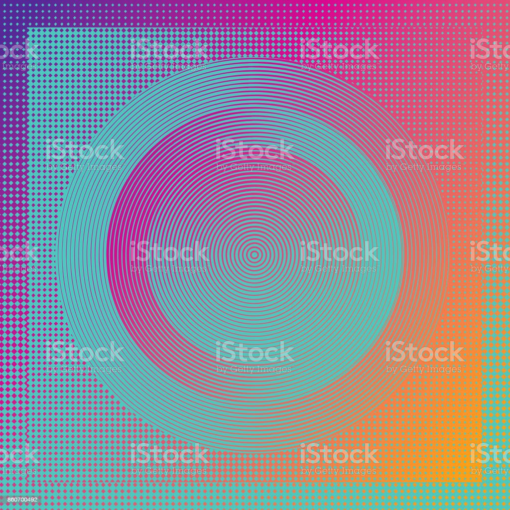 Technology background with concentric circles and half tone pattern vector art illustration
