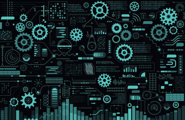 Technologie-Hintergrund mit Gears und Charts – Vektorgrafik