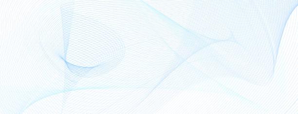 technologiehintergrund mit hellblauen wellenförmigen linien. linie kunst raster muster. abstrakte vektor guilloche design. farbiges wasserzeichen. dynamische subtile kurven. vorlage für banner, gutschein, flyer, scheck. eps10-illustration - muster und hintergründe stock-grafiken, -clipart, -cartoons und -symbole