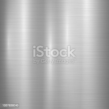 Metal abstract technology background with polished, brushed texture, chrome, silver, steel, aluminum for design concepts, web, prints, posters, wallpapers, interfaces. Vector illustration.
