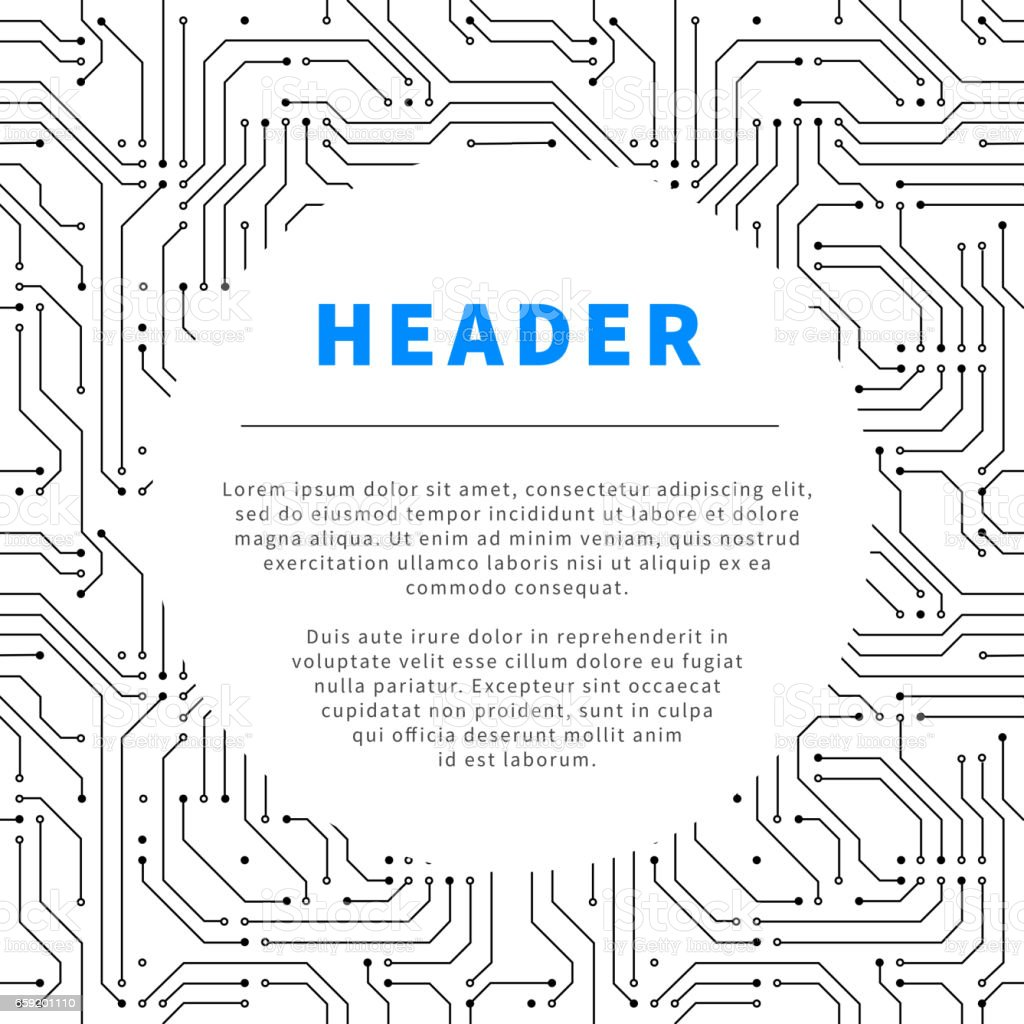 Technology background with microchip pattern and text place on white vector art illustration