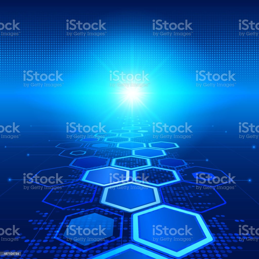 Technology background with sexton road towards bright light vector art illustration