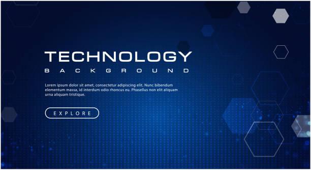 işık efektleri ile teknoloji afiş mavi gökyüzü kavramı, illüstrasyon vektör - blue background stock illustrations