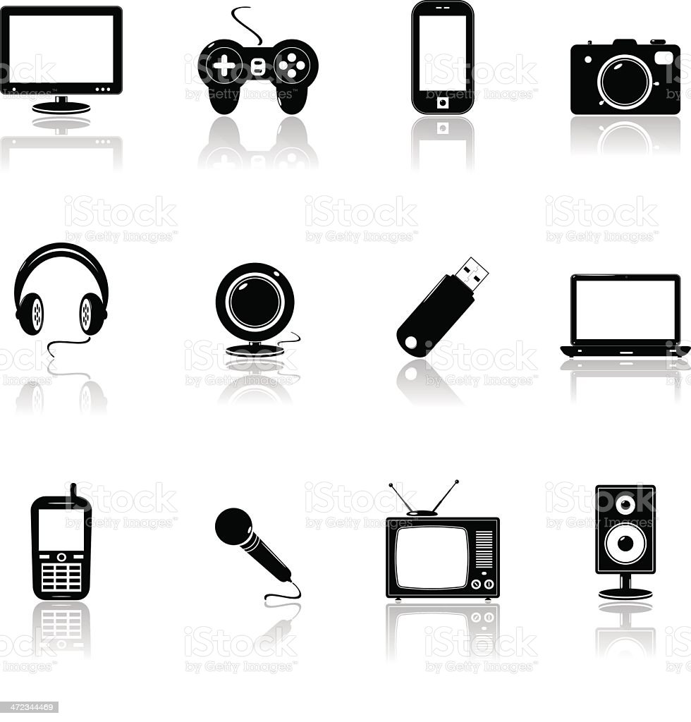technology black icons royalty-free stock vector art