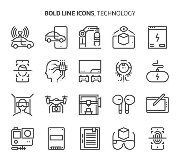 technologie, fett gedruckte zeile symbole - selbstfahrende autos stock-grafiken, -clipart, -cartoons und -symbole