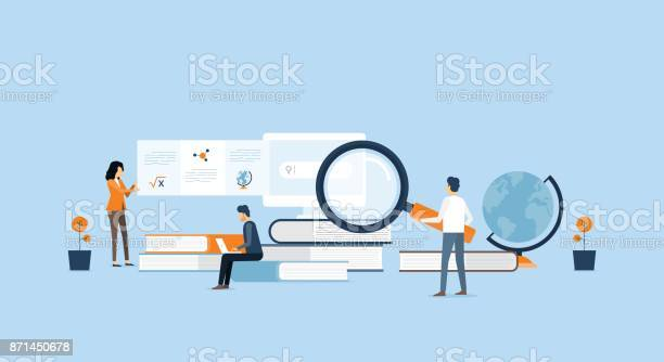 Technology Business Research And Learning And People Business Team Working Concept Stock Illustration - Download Image Now