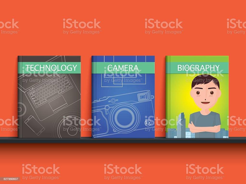 Technology, camera, biography book on shelf vector art illustration