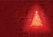 Abstract red vector background with high tech circuit board forms a shiny Christmas tree.