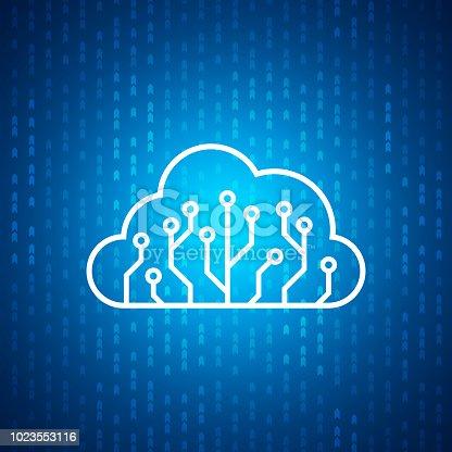 istock Technology cloud circuit board icon , Blue speed digital pattern , matrix background 1023553116