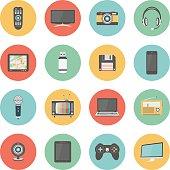 Technology colorful flat design icons set