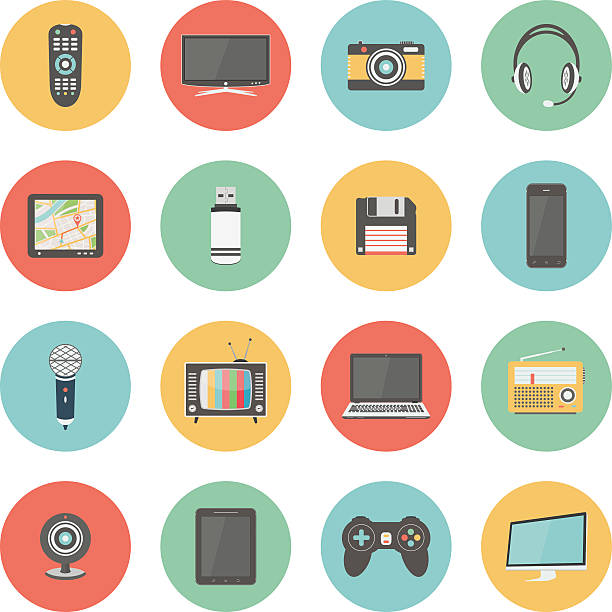 Technology colorful flat design icons set Flat icons set of multimedia and technology devices, audio and video items and objects. Isolated on white background.  electrical equipment stock illustrations