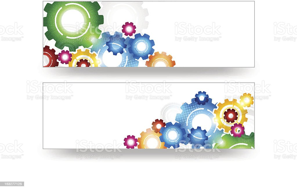 Technology Colorful Gears Banner Vector royalty-free stock vector art