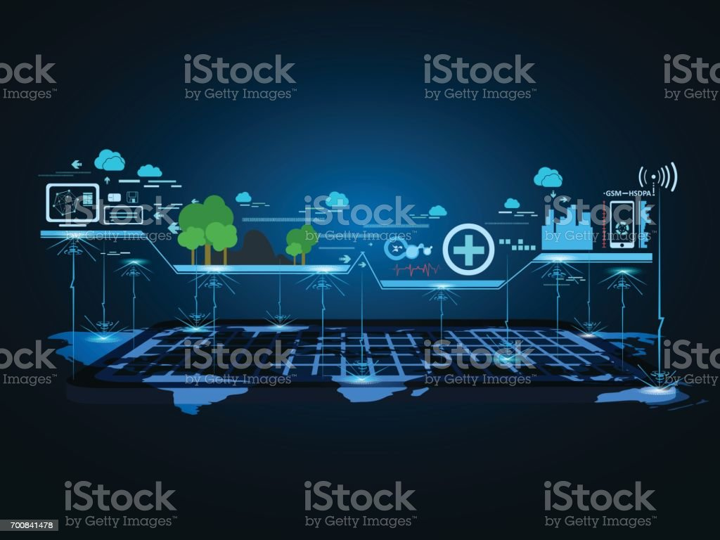 Technology communication city network background. vector illustration. vector art illustration