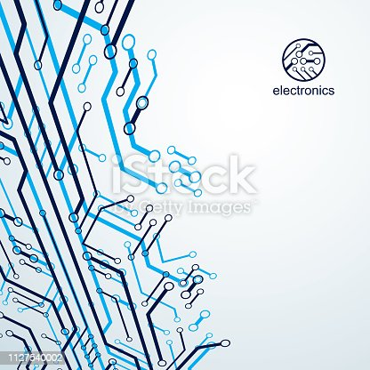 Technology communication cybernetic element. Vector abstract illustration of circuit board. Modern innovation technologies backdrop