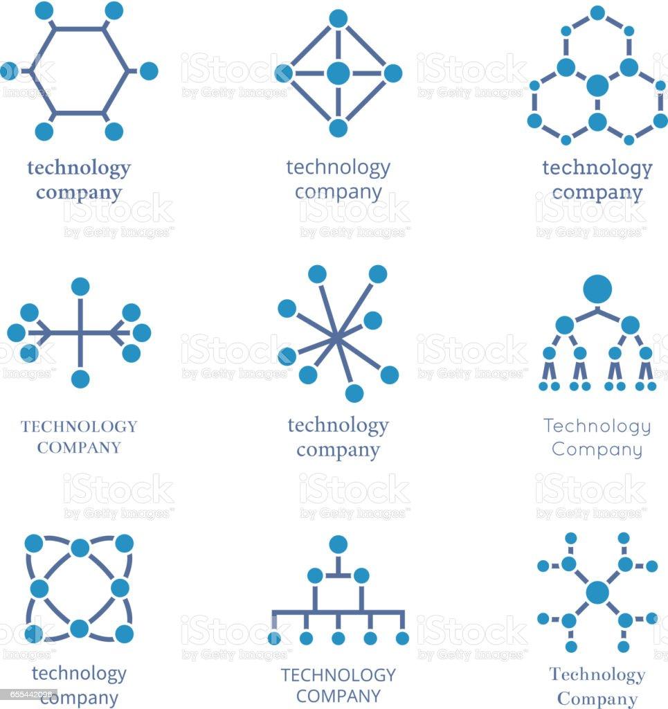 Technology Company Logo Set Vector Technological ...